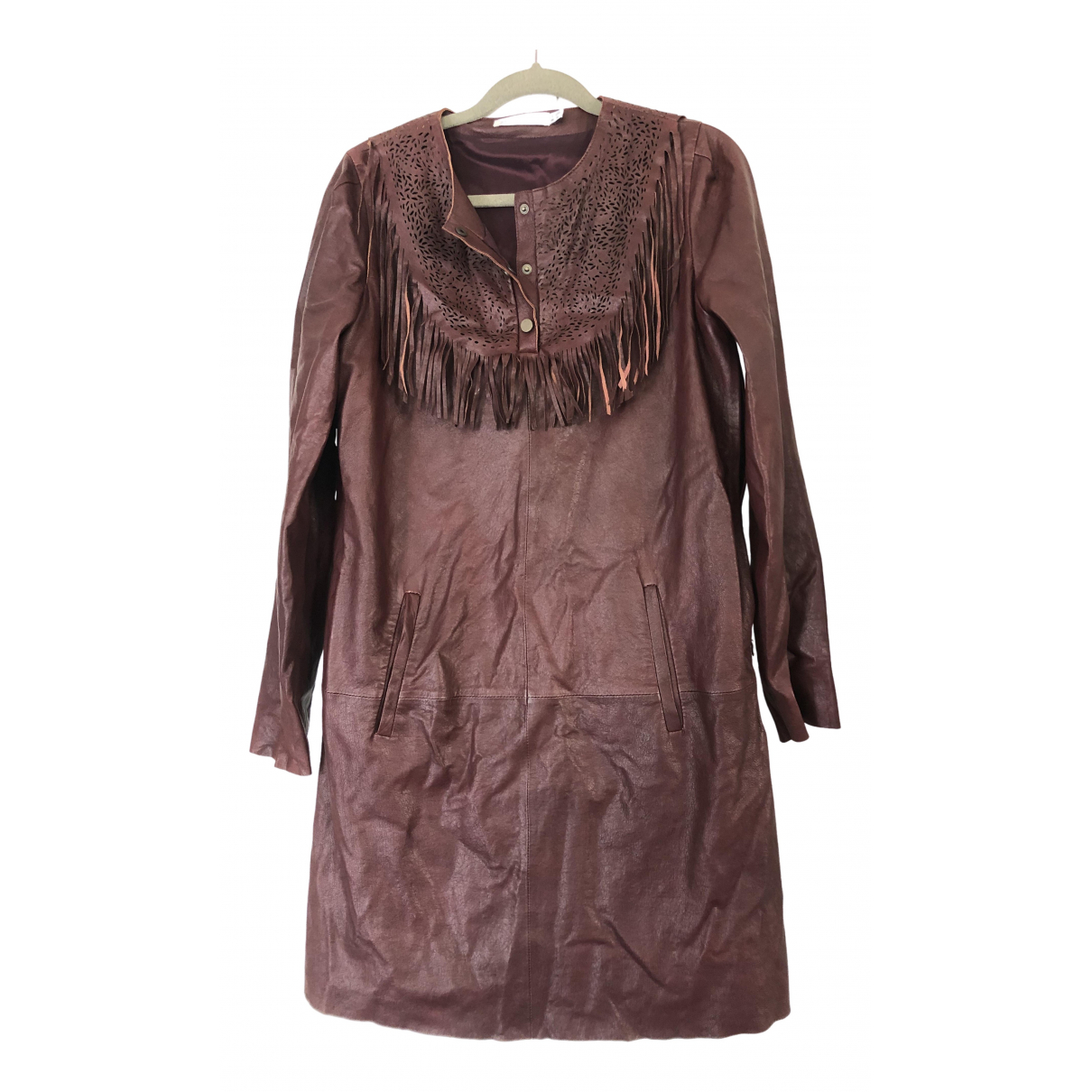 See By Chloé N Burgundy Leather dress for Women 46 IT