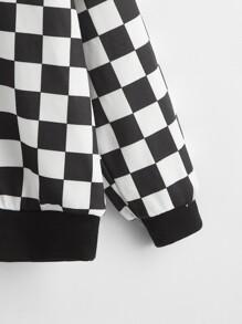 Girls Checker Drop Shoulder Pullover