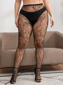 Plus Hollow Out Fishnet Tights