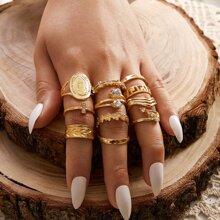 13pcs Rhinestone Decor Ring