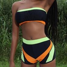 Bandeau Bikini Badeanzug mit Farbblock