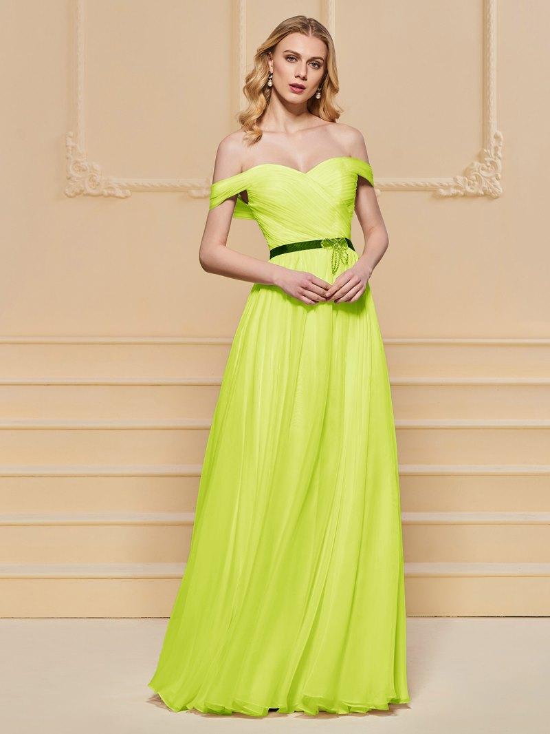 Ericdress A Line Off The Shoulder Pleats Short Sleeve Prom Dress