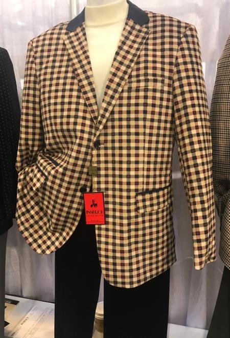 Mens Tan / Brown Gingham Pattern Blazer ~ Sportcoat ~ Jacket