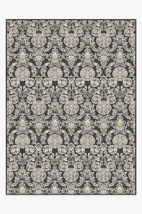 Washable Rug Cover & Pad | Mickey Damask Charcoal Rug | Stain-Resistant | Ruggable | 9x12