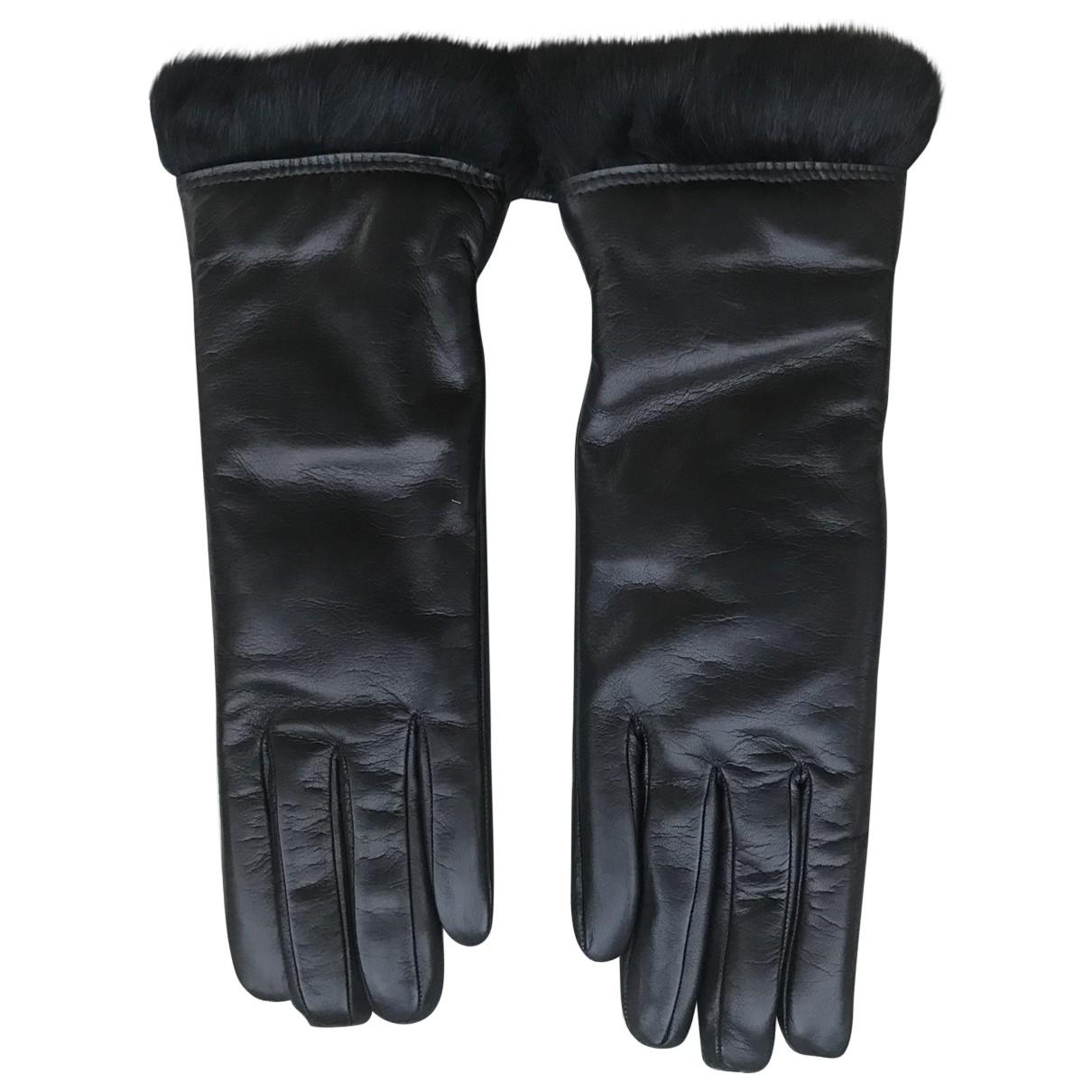 Sermoneta Gloves \N Handschuhe in  Schwarz Leder