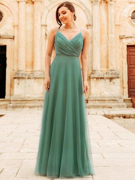 Milanoo Bridesmaid Dress Tulle A Line V Neck Floor Length Wedding Party Dress
