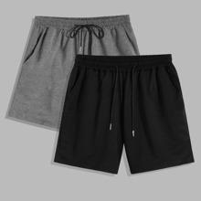 Guys 2pcs Drawstring Waist Shorts