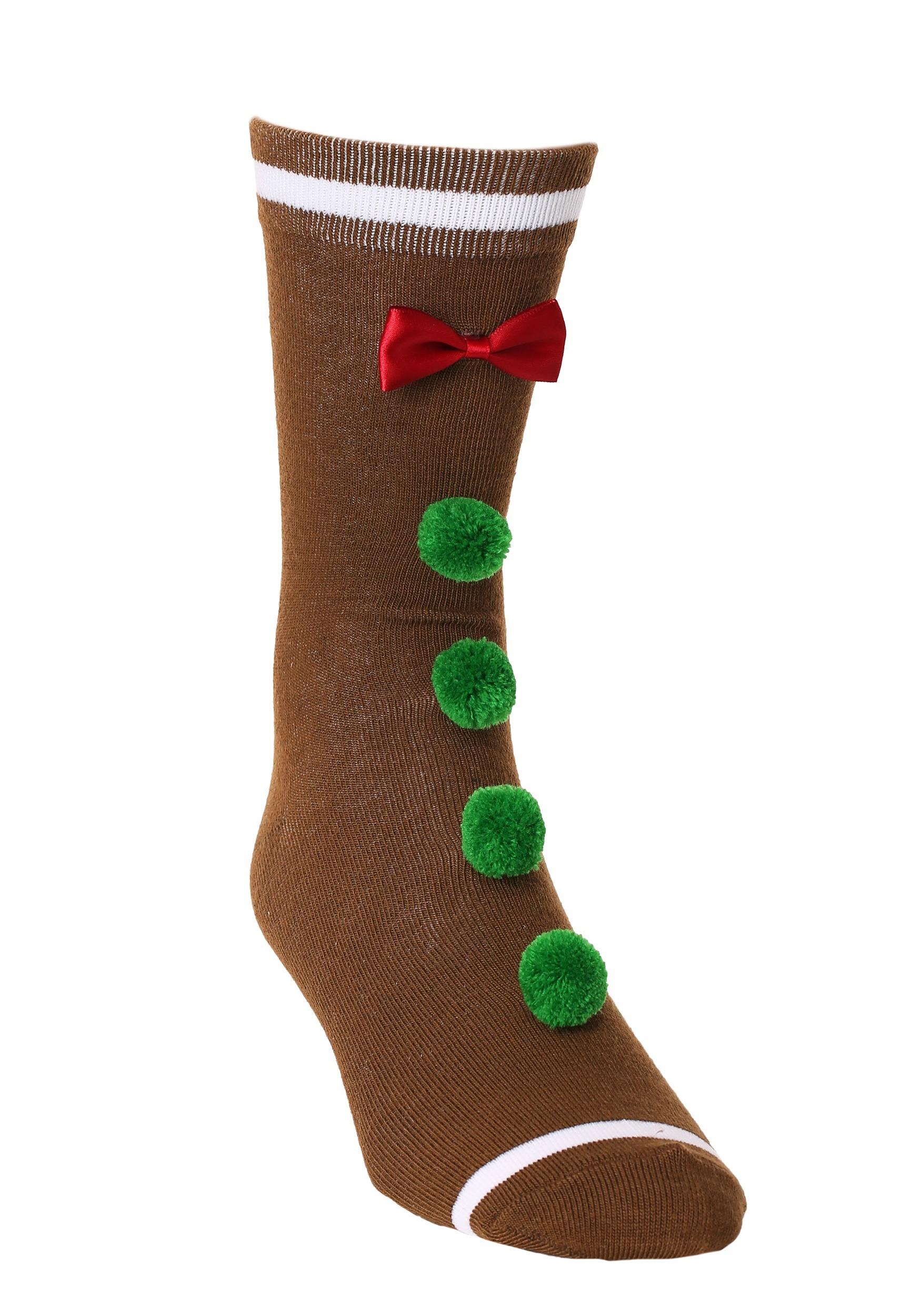 Novelty 3D Gingerbread Man Crew Socks