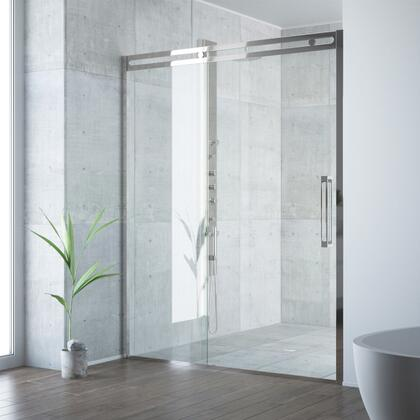 Erie Collection VG6047STCL6074 Adjustable Framed Sliding Shower Door in Stainless