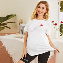 Maternidad camiseta con estampado de slogan y corazon