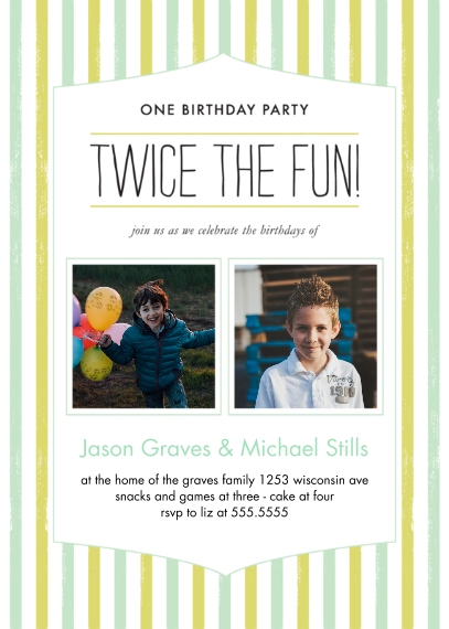 Kids Birthday Party Invites 5x7 Folded Cards, Standard Cardstock 85lb, Card & Stationery -Twice the Fun Joint Boy Striped Bday