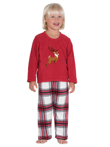 Milanoo Women\'s Christmas Set Red Cotton Blend Cotton Christmas Pattern Christmas Holidays Costumes