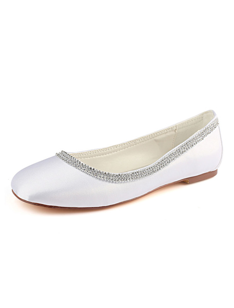 Milanoo Mother Of The Bride Shoes Ivory Rhinestones Slip On Bridal Flats Wedding Guest Shoes
