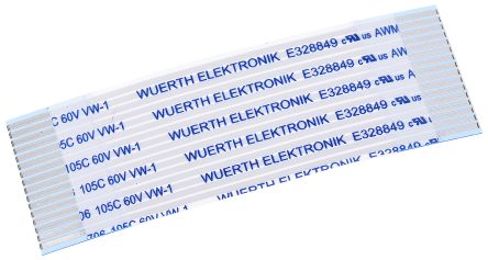 Wurth Elektronik WR-FFC FFC Jumper Cable, 1mm Pitch, 16 Way, 50mm Cable Length, 1 A, 60 V ac (5)