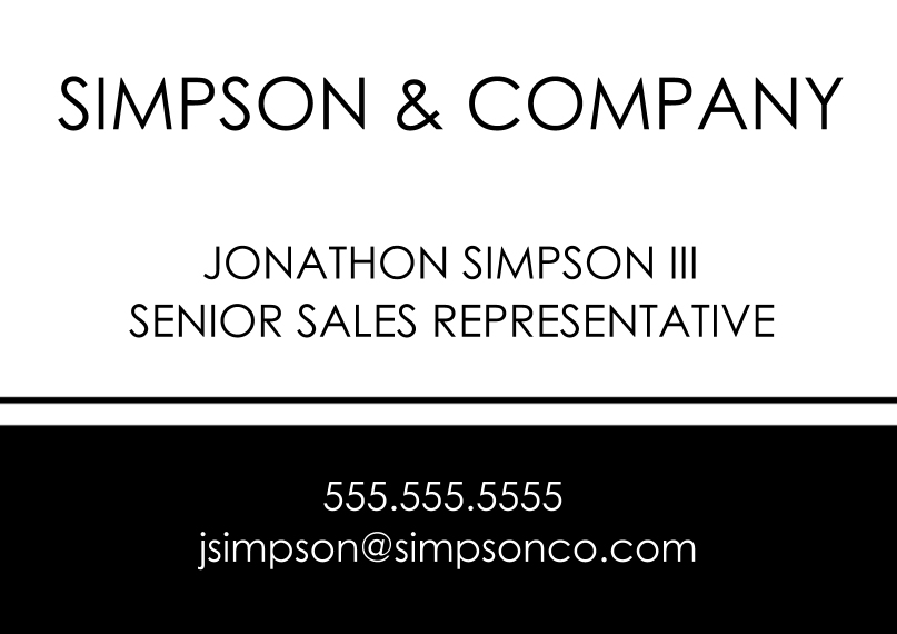 Professional Services Flat Business Greeting Cards, Business Printing -Black & White Basics