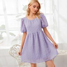 Puff Sleeve High Waist Smock Dress