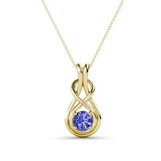 TriJewels Gemstone Women Solitaire Love Knot Pendant Necklace 14K Gold (Tanzanite - Yellow)