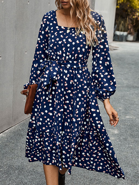 Milanoo Boho Dress Square Neck Long Sleeves Polka DotWinter Spring Fall Dress