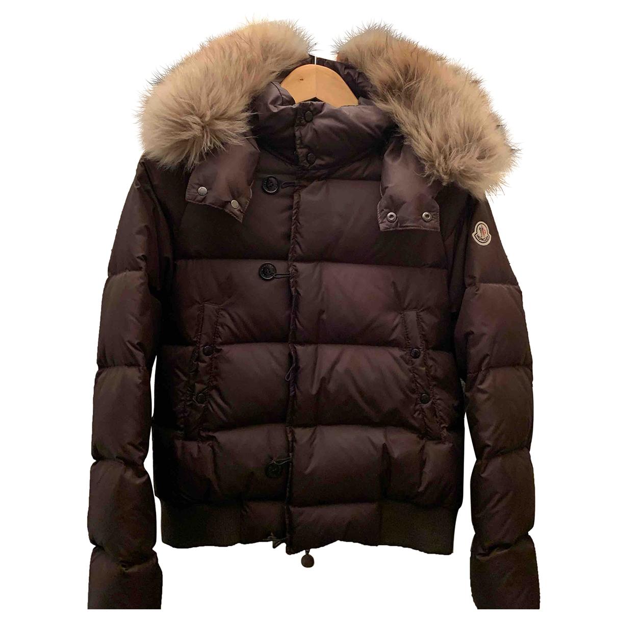 Moncler Fur Hood Jacke, Maentel in  Gruen Polyamid