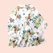 Mehrschichtiges Kleid mit Blumen Muster und Schosschenaermeln