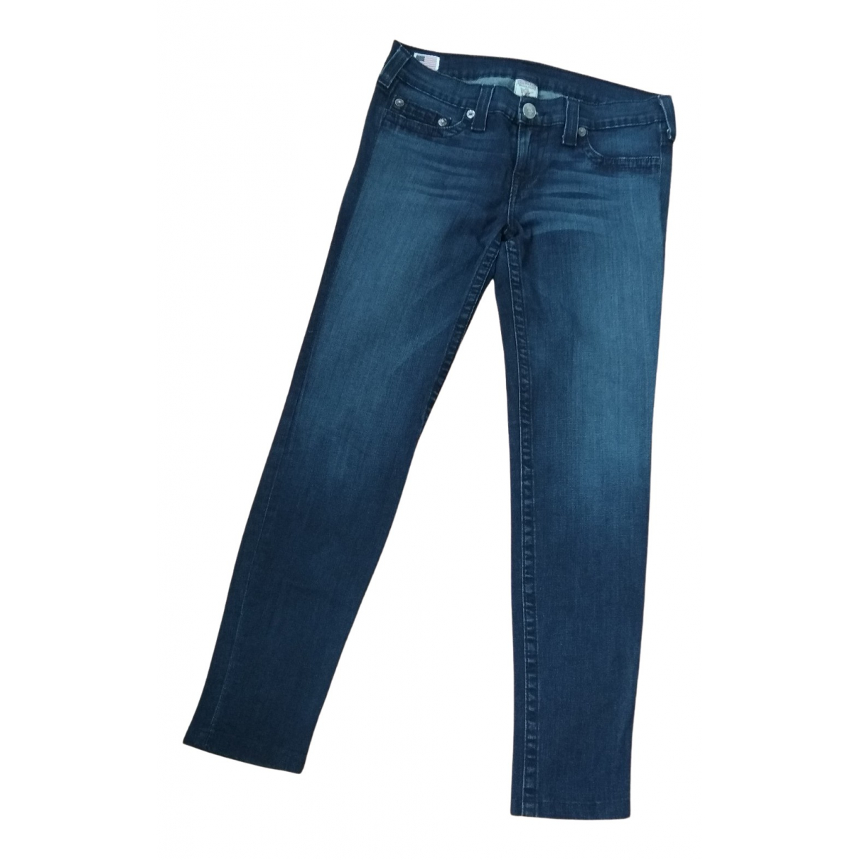 True Religion N Blue Cotton Trousers for Women 40 FR