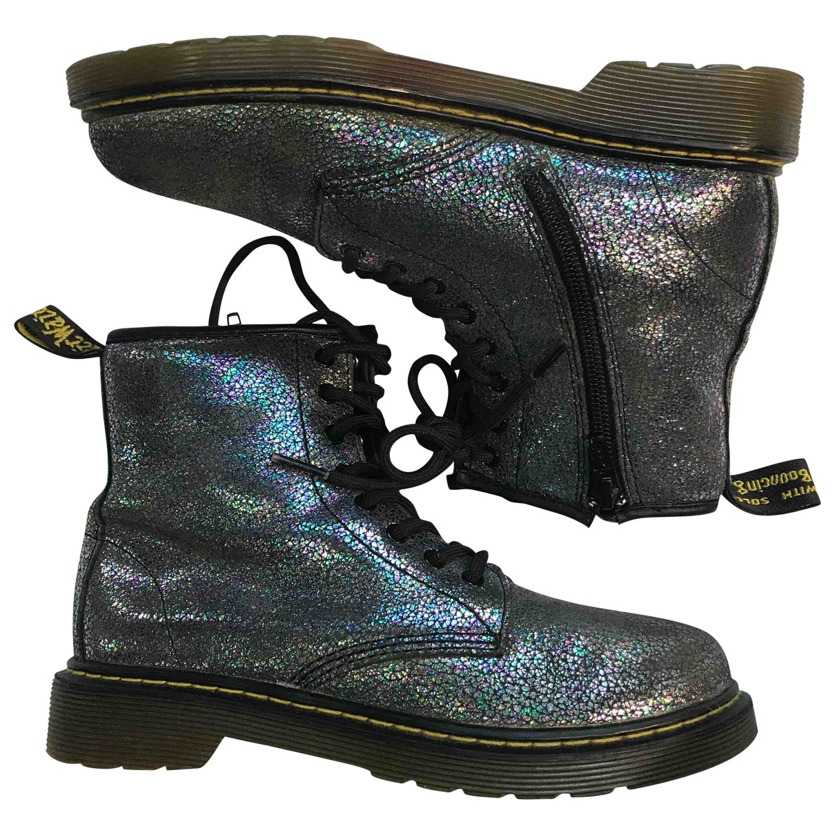 Dr. Martens \N Grey Glitter Ankle boots for Women 35 EU