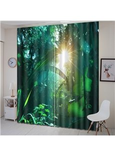 3D Waterproof Polyester Fabric Green Plant Pattern Printed Curtain
