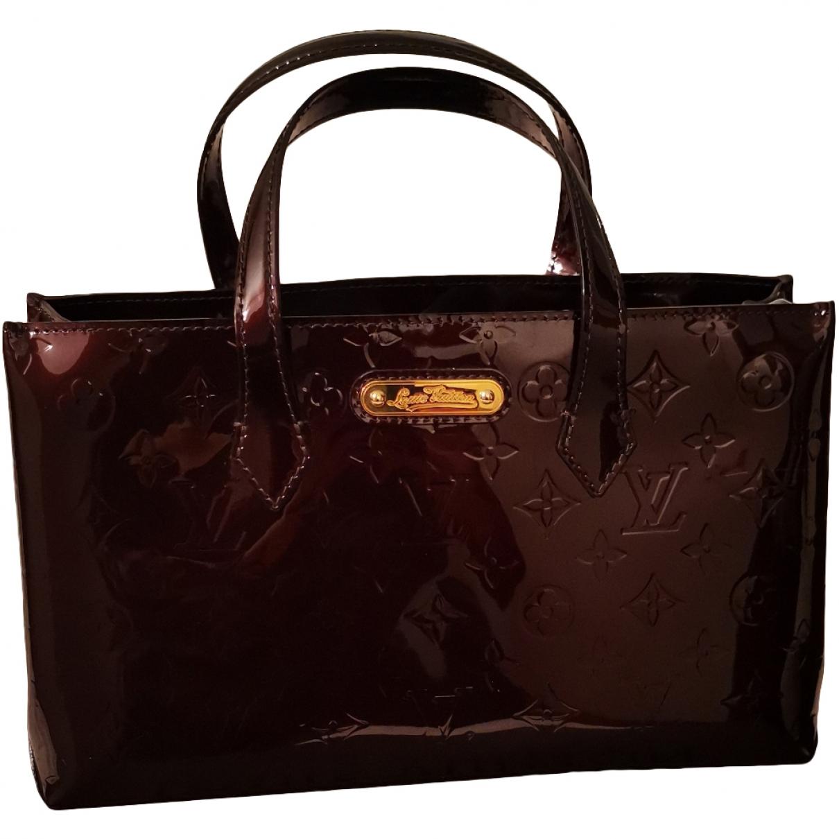 Louis Vuitton - Sac a main Wilshire pour femme en cuir verni - marron