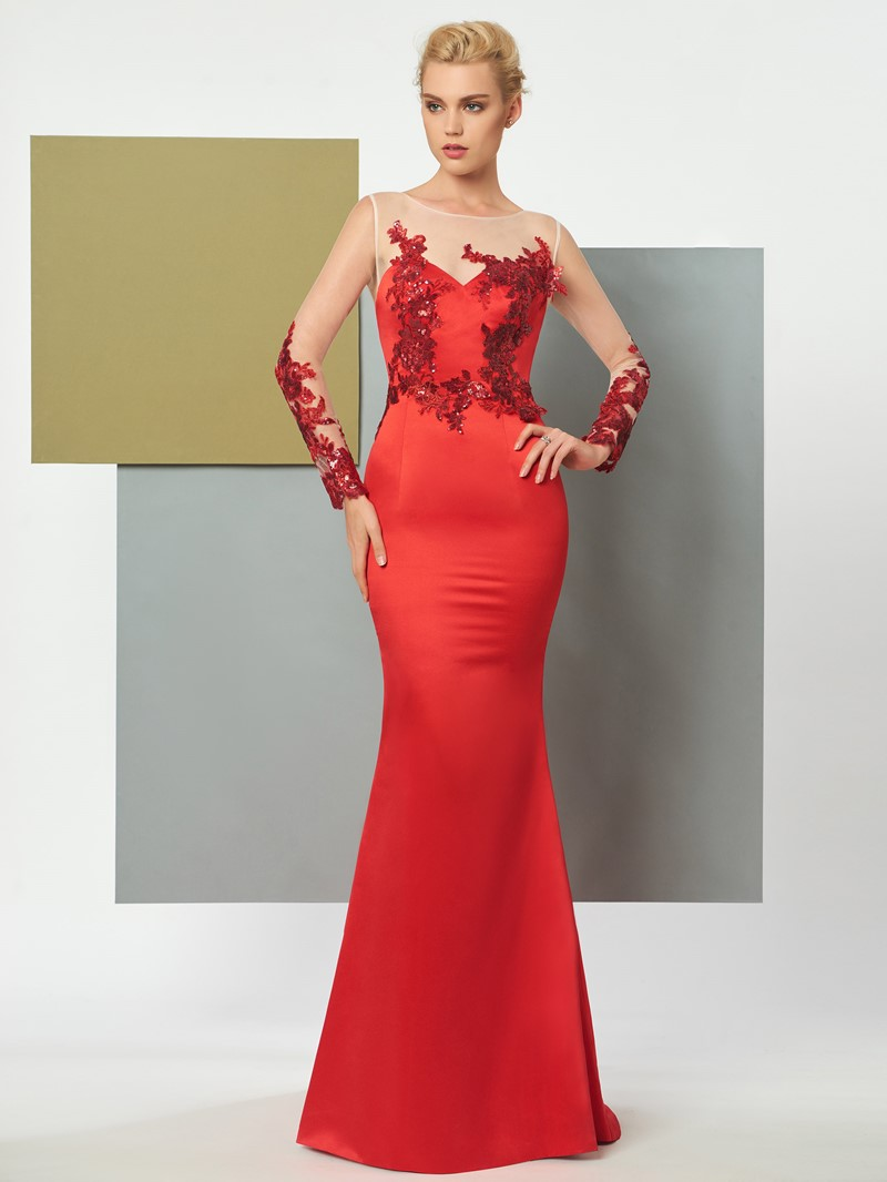 Ericdress Long Sleeve Button Back Long Mermaid Evening Dress