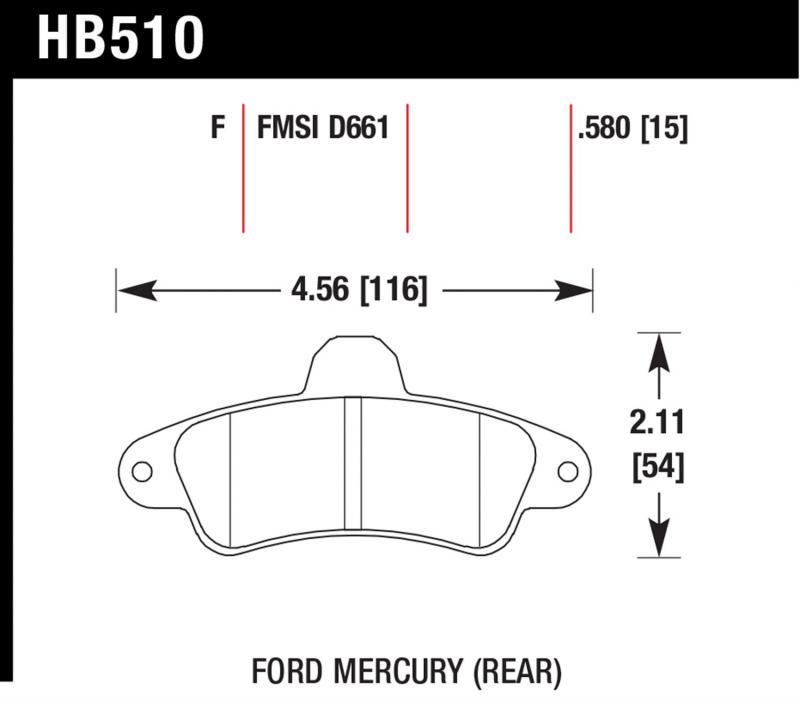 Hawk Performance HB510F.580 Disc Brake Pad Ford Contour Rear 1995-2000
