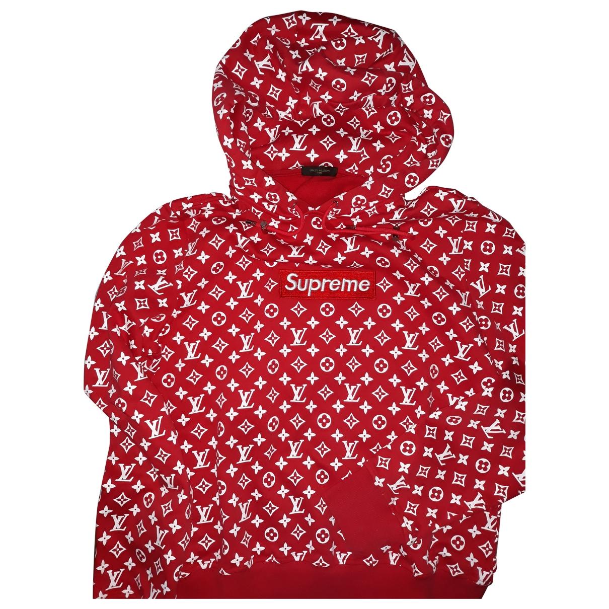 Louis Vuitton X Supreme \N Pullover.Westen.Sweatshirts  in  Rot Baumwolle