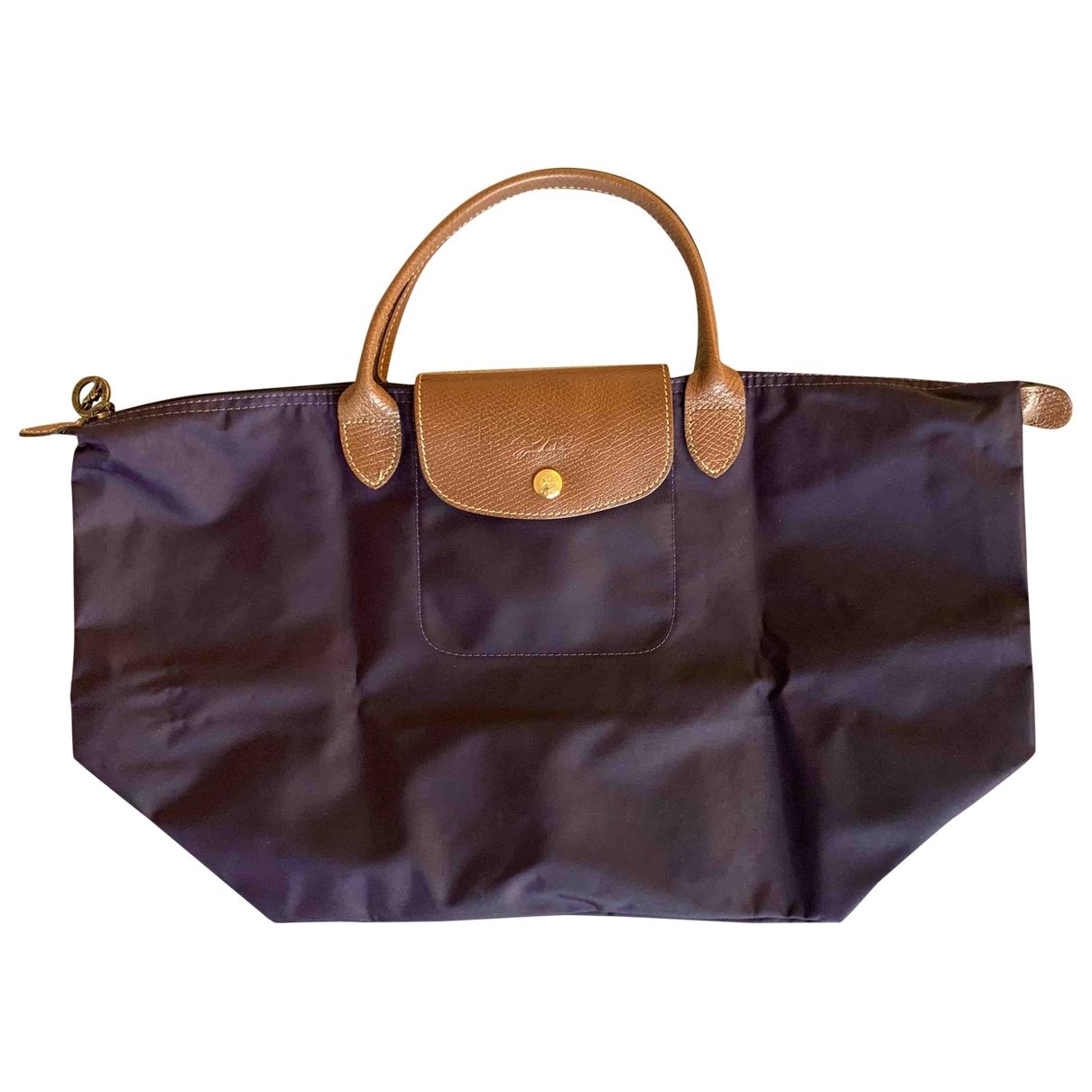 Longchamp - Sac a main Pliage  pour femme en toile - violet
