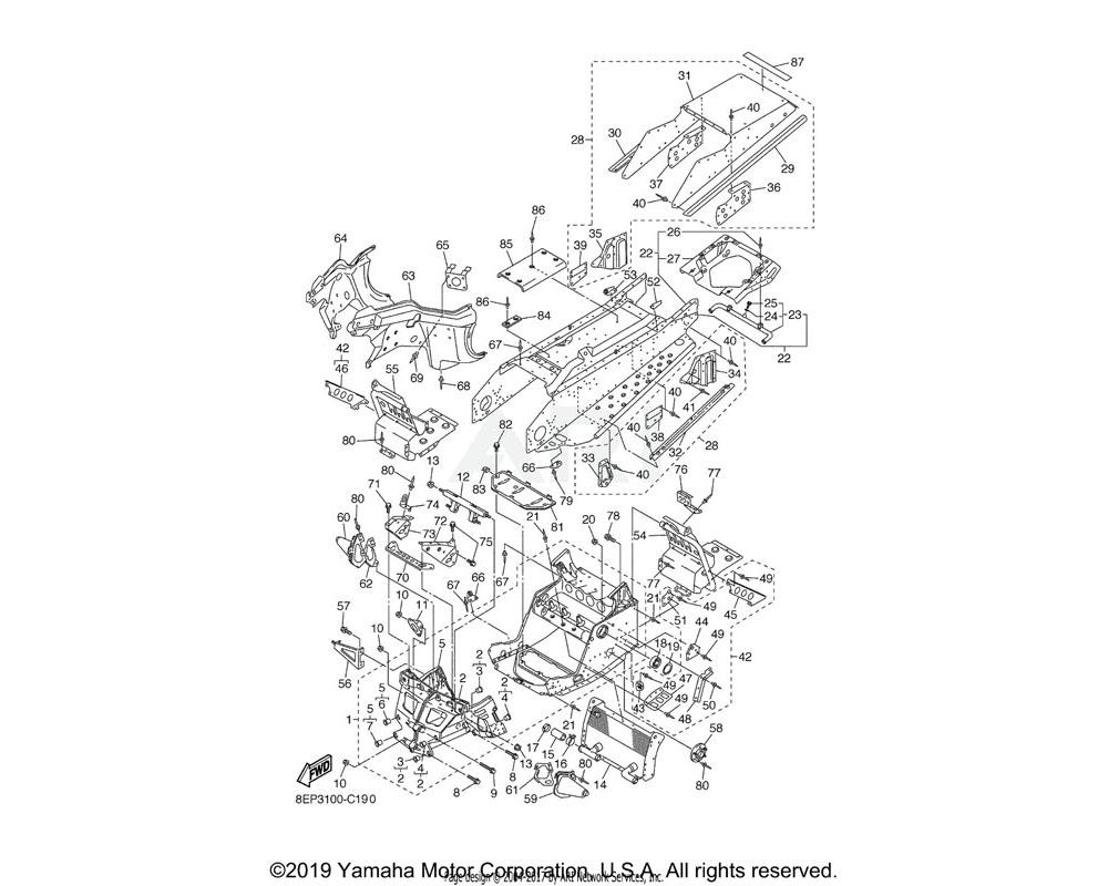 Yamaha OEM 8EP-2196E-10-00 FRAME, UNDER 2   UR FOR S3
