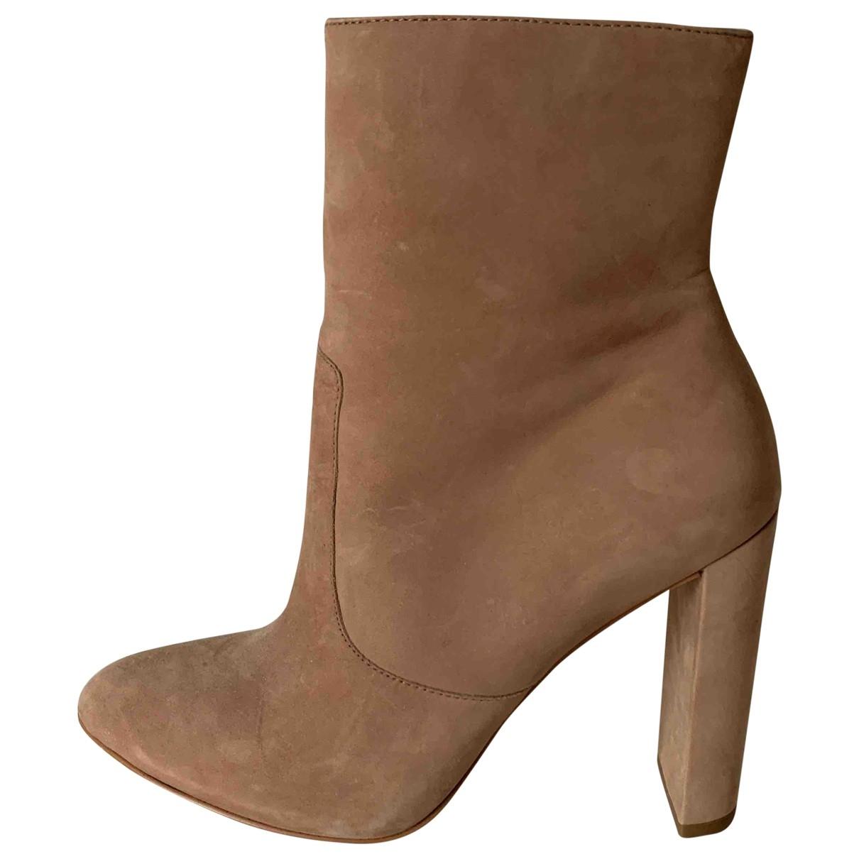 Buffalo - Boots   pour femme en cuir - beige
