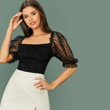 Ruched Heart Flocked Mesh Top
