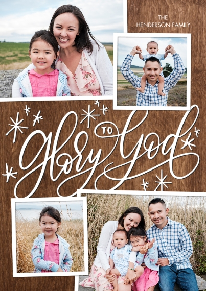 Christmas Photo Cards 5x7 Cards, Premium Cardstock 120lb with Elegant Corners, Card & Stationery -Christmas Glory to God by Tumbalina