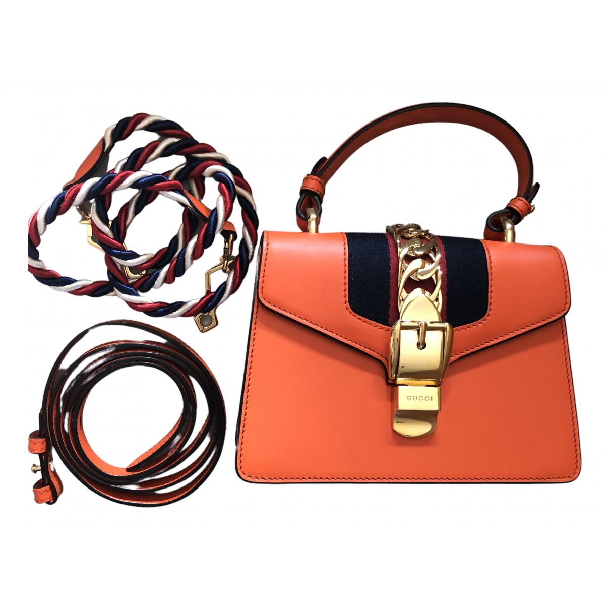 Gucci - Sac a main Sylvie pour femme en cuir - orange