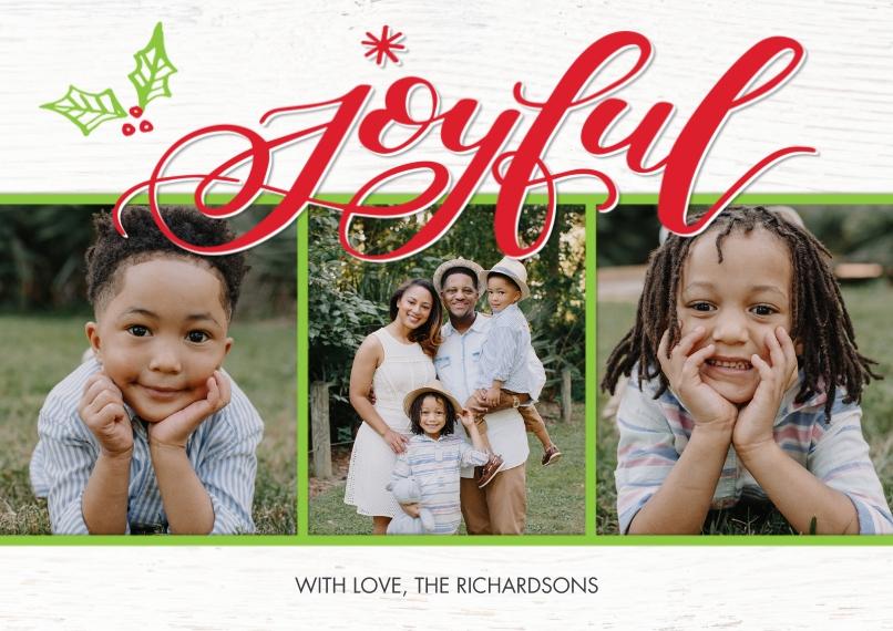 Christmas Photo Cards 5x7 Cards, Standard Cardstock 85lb, Card & Stationery -Christmas Joyful Snapshots by Tumbalina