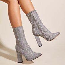 Point Toe Plaid Chunky Heeled Boots