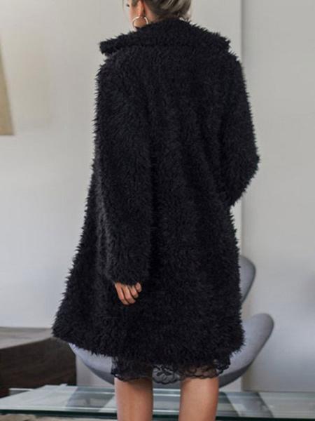 Milanoo Faux Fur Coats Long Sleeves Casual Turndown Collar Black Winter Coat
