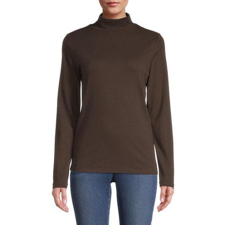 St. John's Bay-Womens Mock Neck Long Sleeve T-Shirt, Petite Medium , Brown