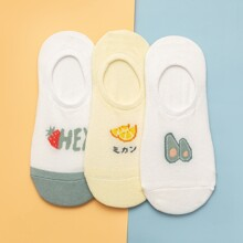 3pairs Fruit Pattern Invisible Socks