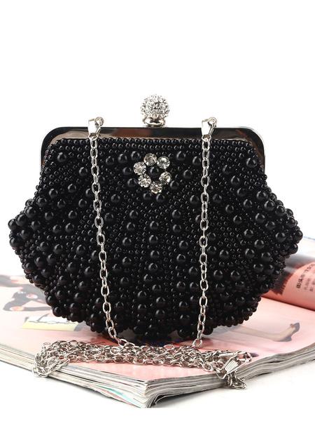 Milanoo Flapper Dress Handbag 1920s Great Gatsby Accessory Ecru Peals Studded Chains Satin Inner Shoulder Cross Chain Women\'s Clutch Bags Flapper Han