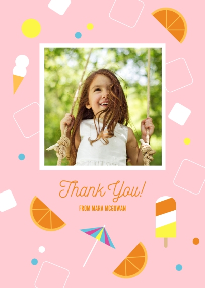 Kids Birthday Thank You 5x7 Folded Cards, Premium Cardstock 120lb, Card & Stationery -Summertime Bash Popsicle ThankYou