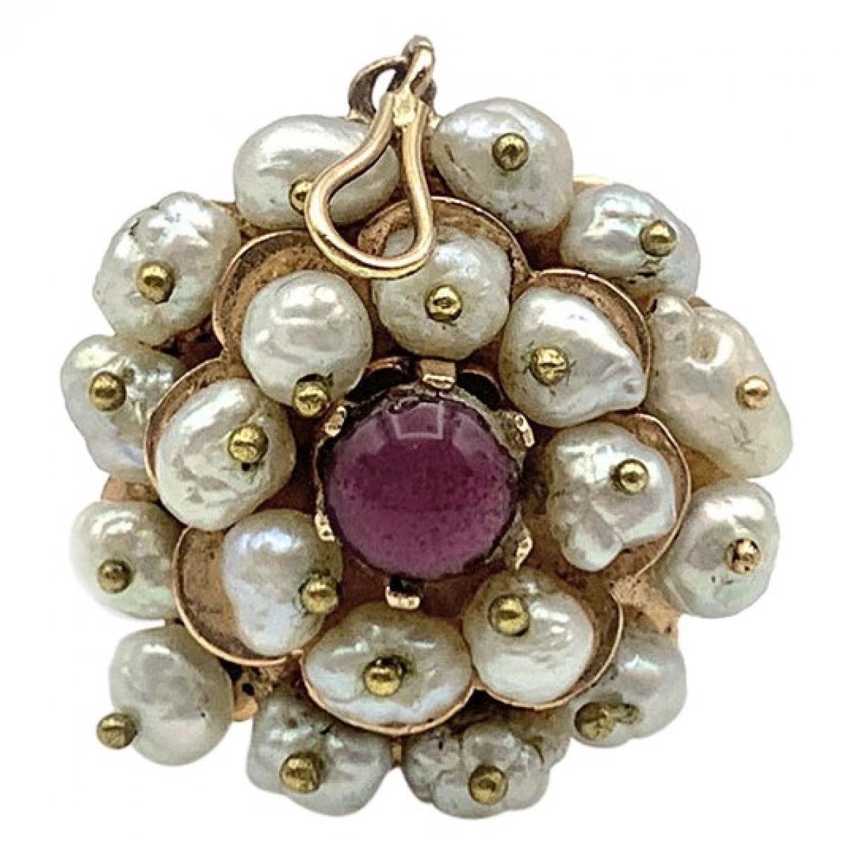 - Broche Motifs Floraux pour femme en or rose - blanc