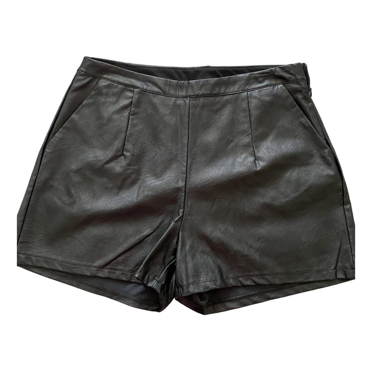 Non Signé / Unsigned N Black Leather Shorts for Women 44 IT