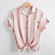 Blusa con bolsillo delantero de rayas-grande