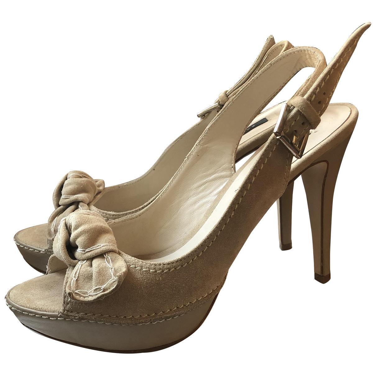 Zara - Escarpins   pour femme en suede - beige
