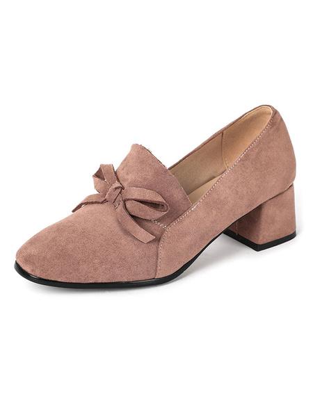 Milanoo Zapatos de tacon de tacon Zapatos de tacon bajo con punta cuadrada retro Zapatos de mujer