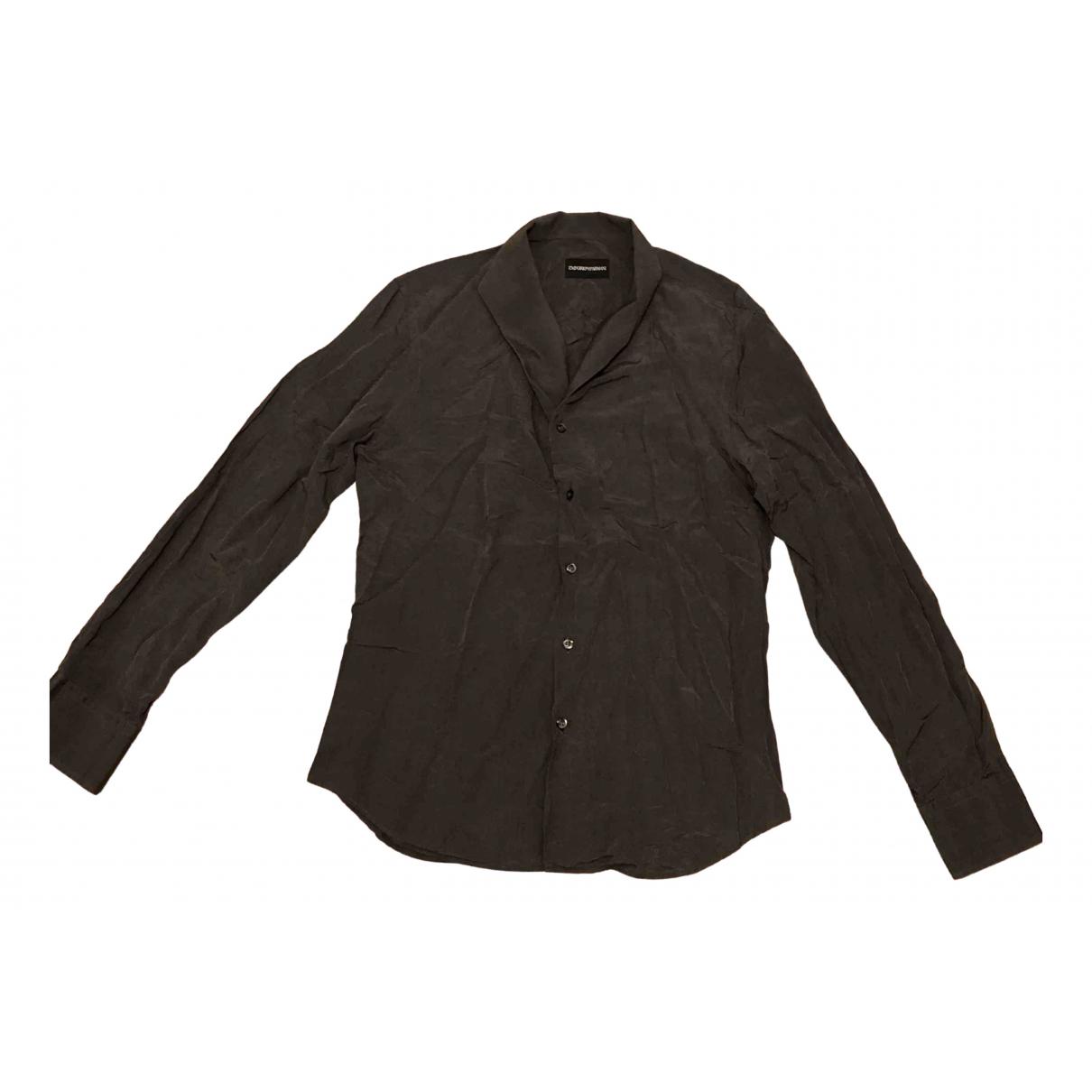 Emporio Armani - Chemises   pour homme en soie - anthracite